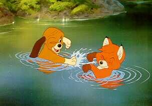 Disney Fox and the Hound Swimming dated 1981 Lobby Card