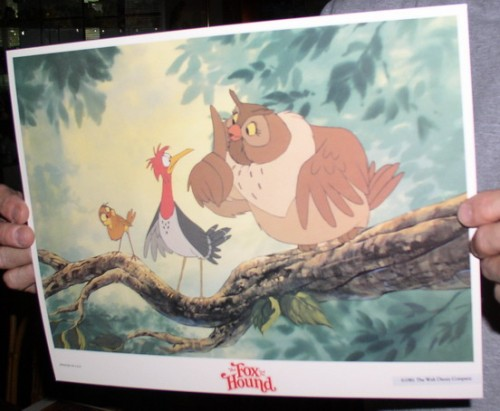Disney Fox and the Hound Owl dated 1981 Lobby Card