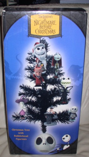 Tim Burton Christmas Tree.Nightmare Before Christmas Tree With Jack Head Base And 7 Bobble Head Ornaments