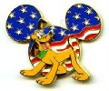 Disney Mickey Head Pluto DLR Cast Member - Patriotic 3D pin/pins