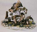 CAPODIMONTE Old Man witrh Dogs Laurenz Classic Sculpture Italy