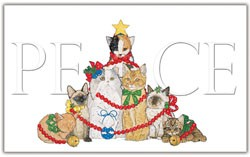 Cat Peace Tree - Christmas Cards by Mary Badenhop