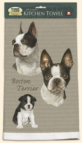 Boston Towel - Kitchen Towel with Original David Kiphuth Dog Art