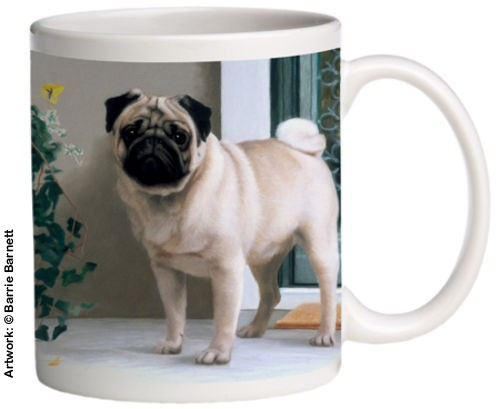 Pug on the Porch - Coffee Mug - Original Dog Art by Barrie Barnett