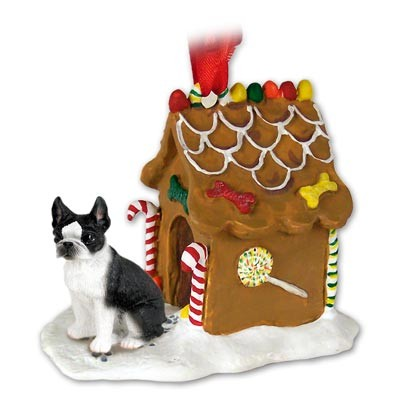 Boston Terrier Gingerbread House Christmas Ornament