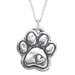 Paw with Heart - Sterling Silver Necklace for Dog Lovers