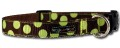Green Polka Dot on Brown Collar - Nylon Dog Collar by Walk-e-Woo