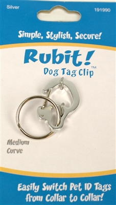 Rubit Curve - Pet Tag Clip in Package -  Available in several colors and sizes