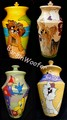 Examples of Custom Handcrafted and Hand Painted Ceramic Dog/Cat Memorial Urns