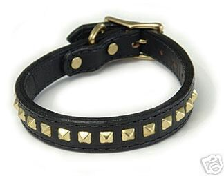 Bridle Leather Dog Collar with  Brass Pyramid  - BLACK