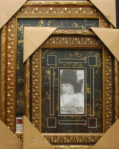Ornate Gold Frame Black Cut Out Photo Mat Set Roses Custom Photo Mats