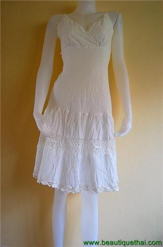 Crochet Bottom Dress White