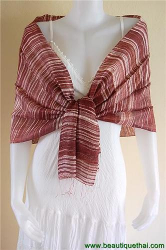 Thai Silk Scarf Shawl Wrap Stripe Batik Hide Brown