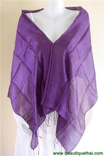 Thai Silk Scarf Wrap Shawl One Color Purple