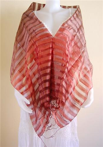 Thai Silk Scarf Wrap Shawl Stripe Multicolor Brown