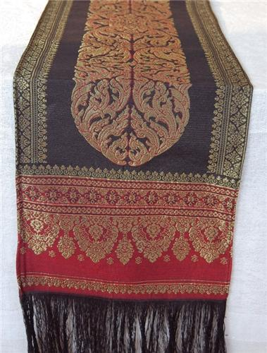 Traditional Thai Silk U0026 Cotton Table Runner In Black And Wine Red