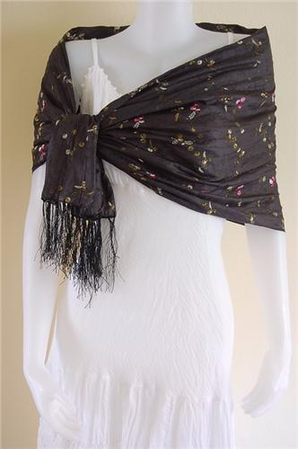 Thai Silk Scarf Wrap Shawl Flower Pattern Black