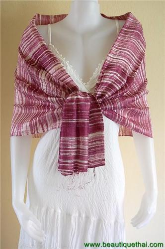 Thai Silk Scarf Wrap Shawl Stripe Batik Mangosteen Burgundy