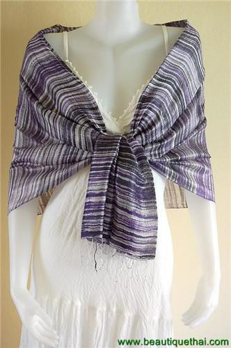 Thai Silk Scarf Wrap Shawl Stripe Batik Purple