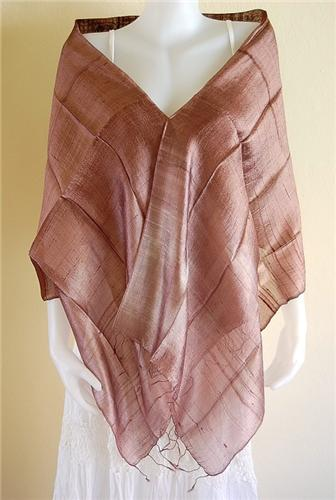 Thai Silk Scarf Wrap Shawl Multicolor Chocolate Cream Brown