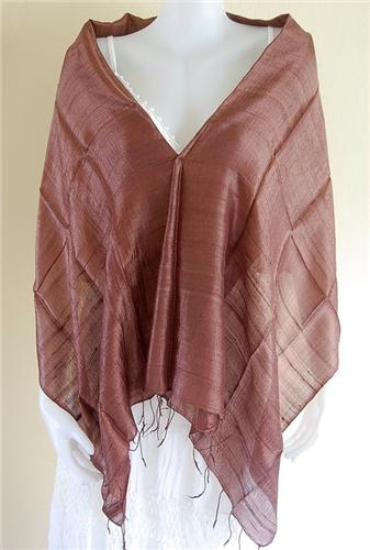 Thai Silk Scarf Wrap Shawl  One Color Dark Brown