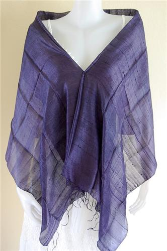 Thai Silk Scarf Wrap Shawl One Color Cobolt Blue