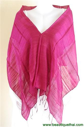 Thai Silk Scarf Wrap Shawl One Color Rich Plum Burgundy