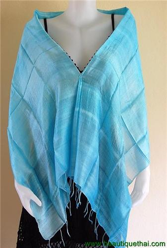 Thai Silk Scarf Wrap Shawl One Color Sky Blue