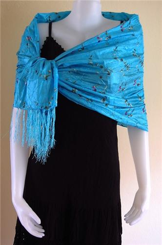 Thai Silk Scarf Wrap Shawl Flower Pattern Turquoise Blue