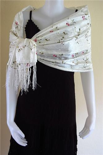 Thai Silk Scarf Wrap Shawl Flower Pattern White