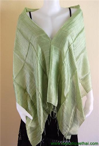 Thai Silk Scarf Wrap Shawl One Color Light Green