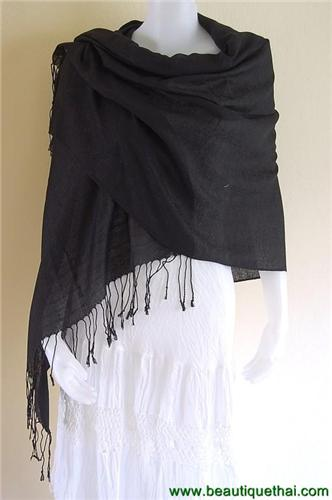 Thai Pashmina Shawl Wrap Scarf Look Num Black