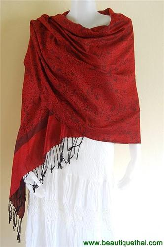 Thai Pashmina Shawl Wrap Scarf Look Num Red