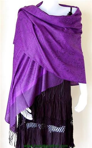 Thai Pashmina Shawl Wrap Scarf Look Num Purple