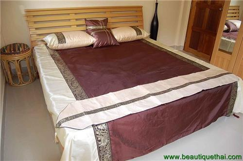 Thai Silk King Size Bedding Set Chocolate  Brown Cream