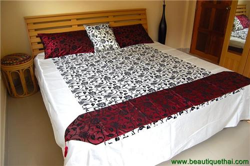 Thai Silk King Size Bedding Set Floral White Crimson Red