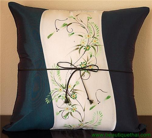 Thai Silk Cushion Pillow Cover Sham Hand Painted Jade Green Panel