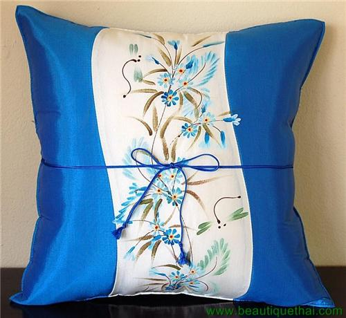 Thai Silk Cushion Pillow Sham Cover Hand Painted  Elect Blue Panel