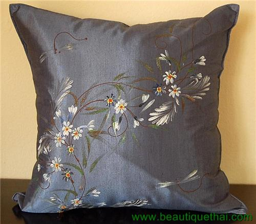 Thai Silk Throw Cushion Pillow Sham Cover Hand Painted Storm Blue