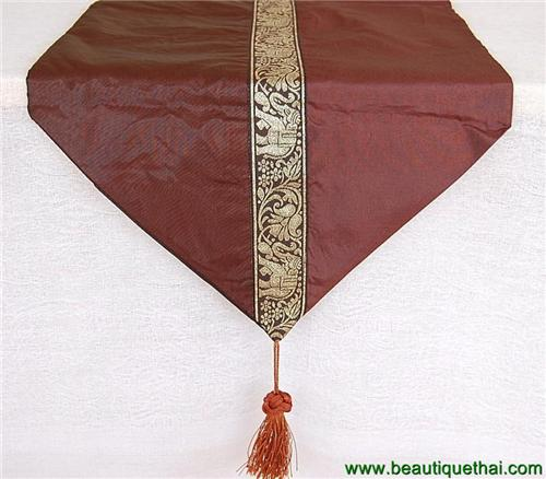 Thai Silk Table Runner Chocolate Brown