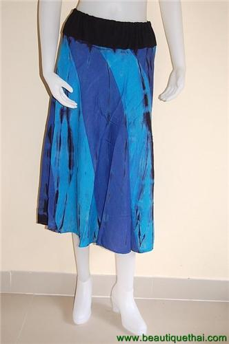 3/4 Length Panel Skirt Blue