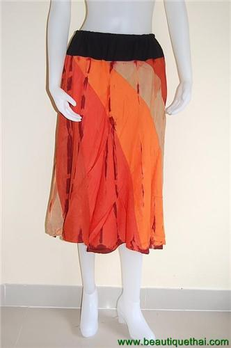 3/4 Length Panel Skirt Orange