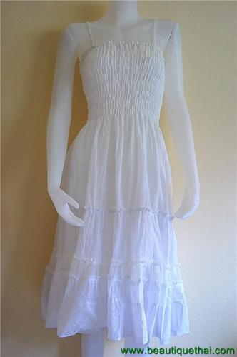 Three quarter length sundress white