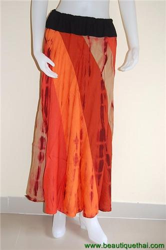 Full Length Panel Skirt Orange