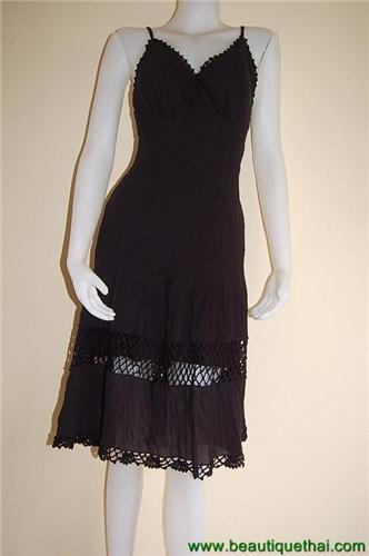 Crochet Bottom Dress Black