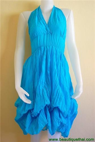 Adjustable length halter Dress Turquoise Blue