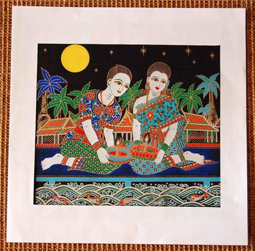 Traditional Thai Art Print on Fine Cotton No. 002