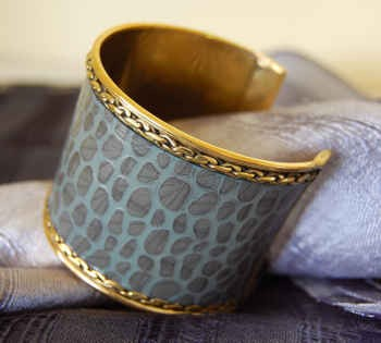 Unique Thai hand made cuff in gray leatherette, gold color