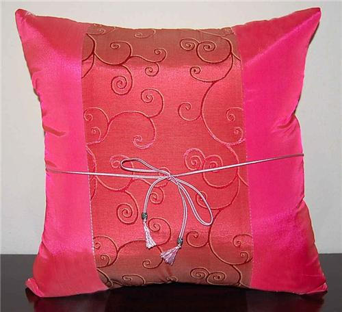 Thai Silk Cushion Cover Pillow Sham Natures Promise Pink