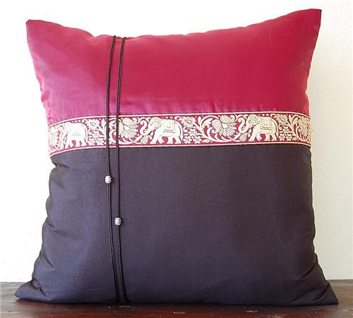 Thai Silk Cushion Cover Pillow Sham Elephant Black Wine Red